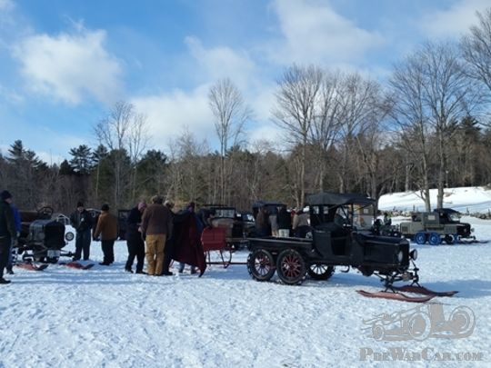 A Model T meeting in the snow!