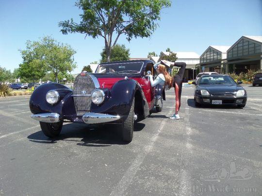 A stretching Bugatti girl